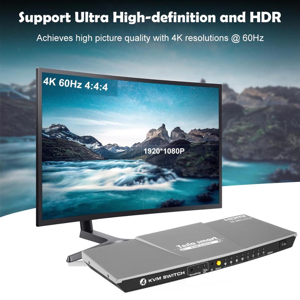 Tesla smart Gray High Quality HDMI 4K@60Hz HDMI KVM Switch 4 Port USB KVM HDMI Switch Support 3840*2160/4K*2K Extra USB2.0 Port