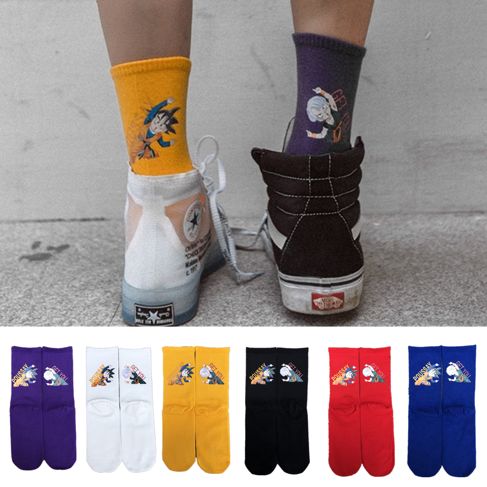 Men's Autumn Cartoon Turks Son Goten Son Goku Dragon Ball Z Funny Socks Harajuku Japanese Anime Fashion Happy Skateboard Socks