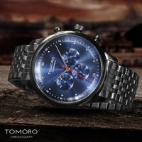 TOMORO New Design Unique Classic Sport Watches for Men Brand Luxury Fashion Black Stainless Steel Chronograph Quatz Wrist Watch