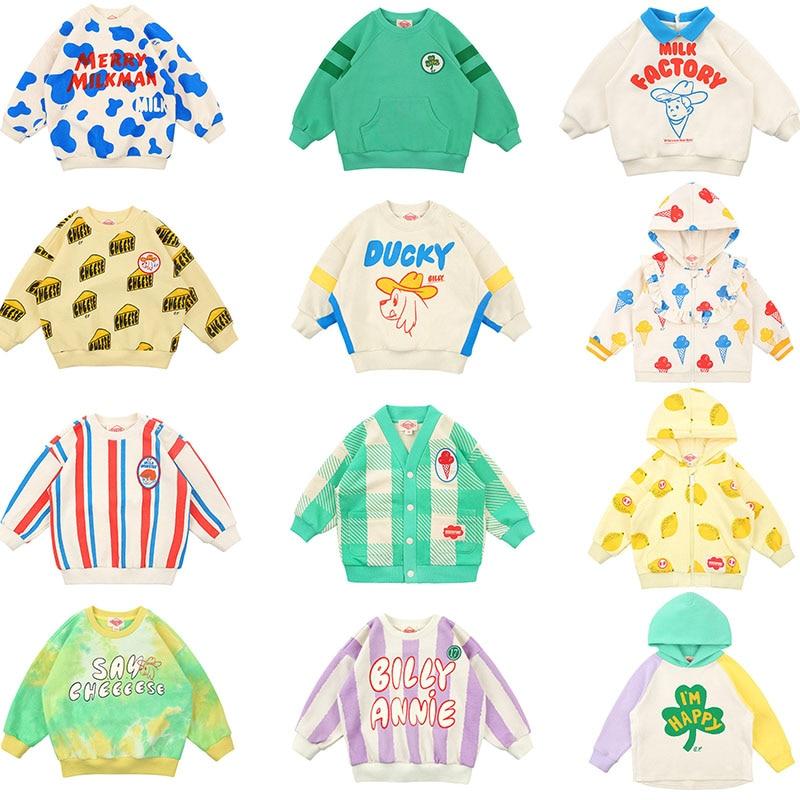 Super Cute Toddler Boys Girls Spring Sweatshirt Ice Cream Print Korean Baby Lovely Tops Long Sleeve Casual Hoodies Brand Kid Top