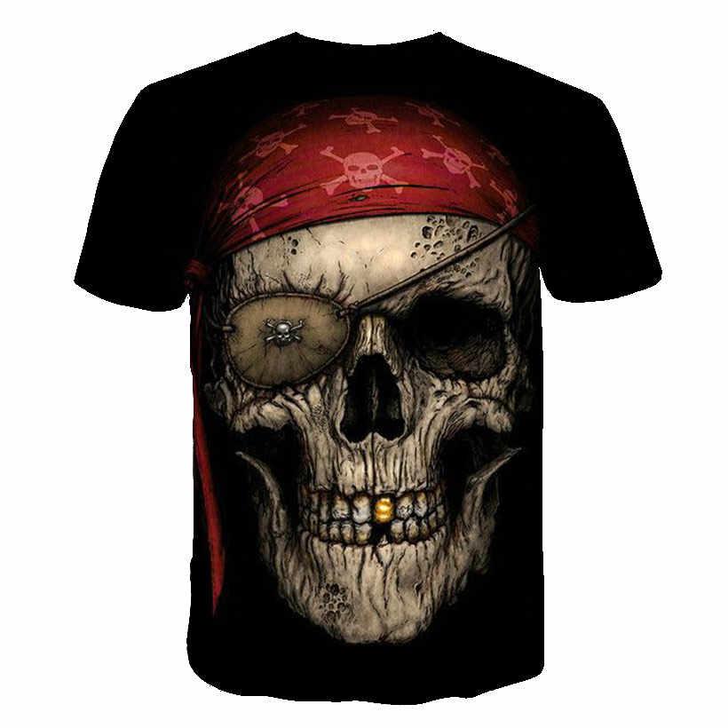Skull T Shirt Uomo Nero della Maglietta Divertente Punk Rock Abbigliamento Militare 3d Stampa T-Shirt Hip Hop Abbigliamento Uomo Estate Streetwear