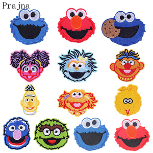 Prajna Cute Cartoon Sesame Street Patch ELMO COOKIE Anime Ironing Patches Cheap Embroidered Patches For Kids Clothes DIY