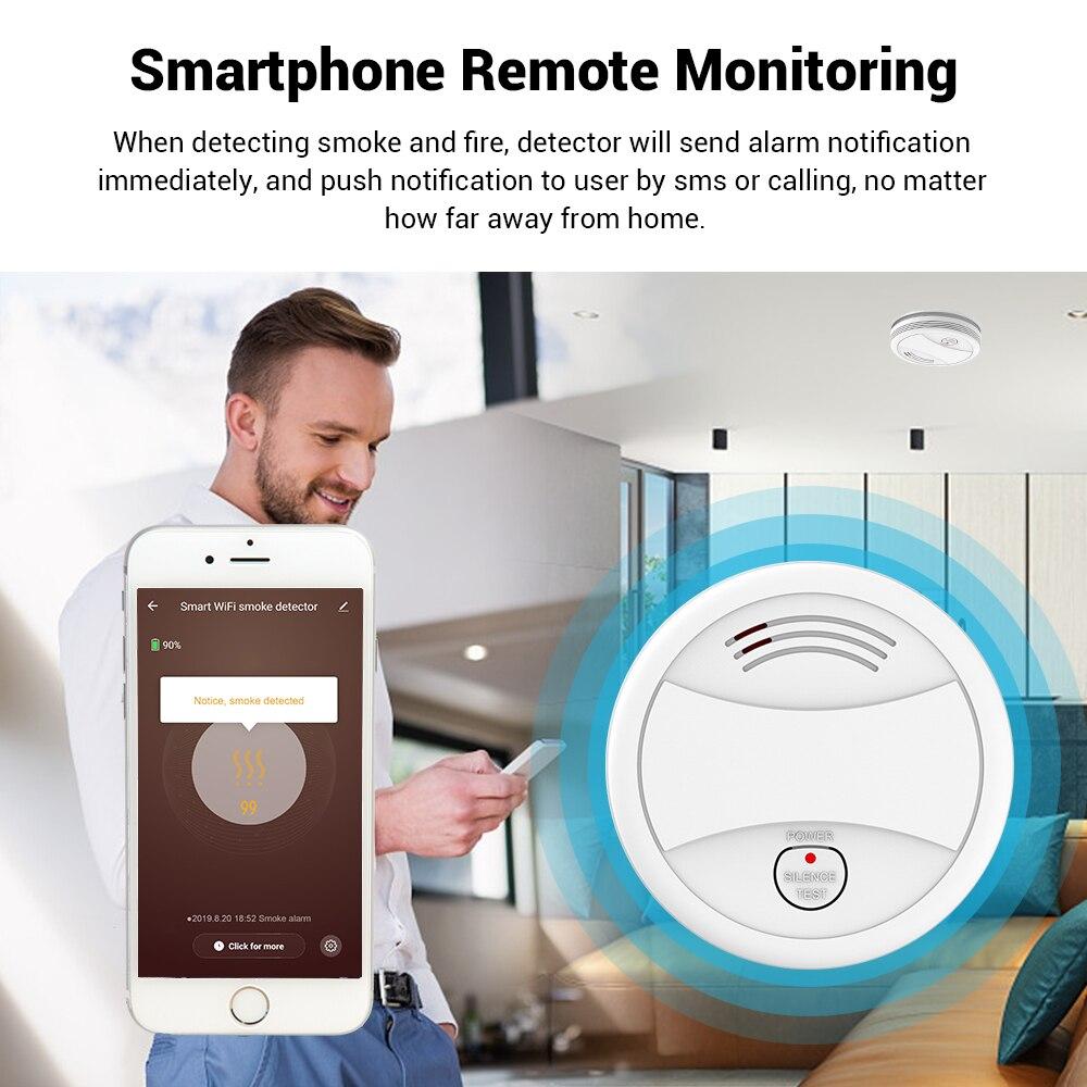 Датчик дыма Tuya, Wi-Fi детектор дыма для дома и кухни, управление через приложение