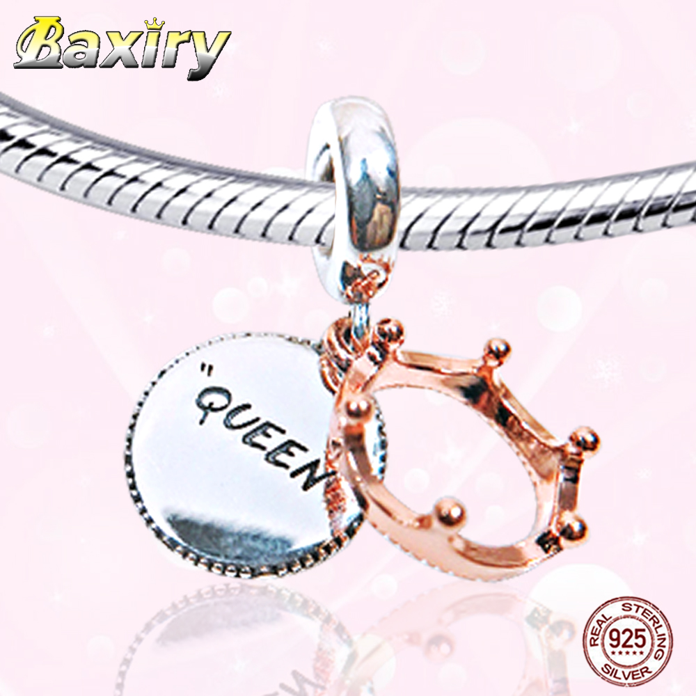 Fine Charm Bracelet DIY Beads 925 Sterling Silver Rose Gold Beads Fit Bracelet Charms Silver 925 Original Beads Letters QUEEN