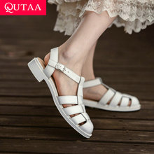 Sandals Female Shoes QUTAA T-Strap Low-Heel Genuine-Leather Women All-Match Pu Buckle
