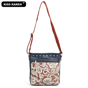 Image 5 - Floral Lace Denim Womens Shoulder Bags with Rivets Fashion Purse Bag Jeans Denim Crossbody Bags Women Messenger Bags