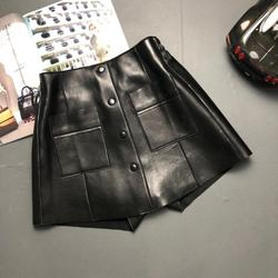 Real leather shorts Internet celebrities single breasted Genuine sheep leather shorts female high waist wide leg shorts F1382