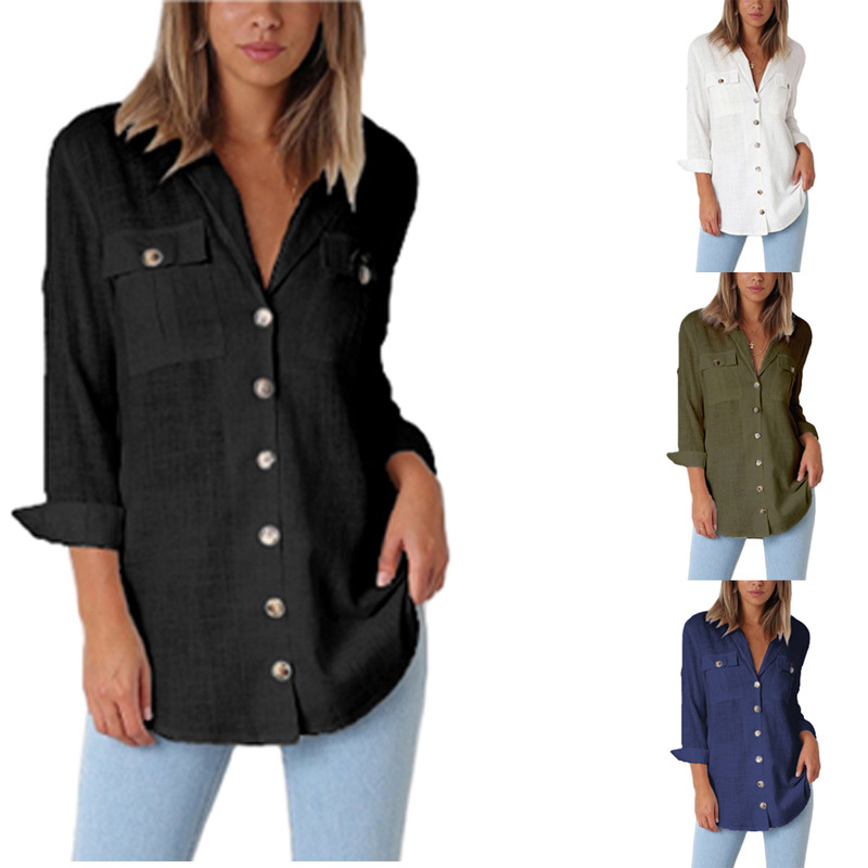 women blouse fashion 2020  female ladies clothing womens top chiffon turn down collar button shirt top 90s