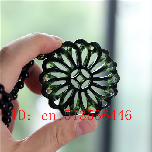 Hollow Out Double-sided Carved Geometric Jade Pendant Natural Chinese Black Green Necklace Charm Jewellery Fashion Amulet Gifts