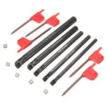 5 uds. De herramientas de tuneado de barra de taladro SCLCR 6 7 8 10 12mm con 5 uds. CCMT0602 inserto de hoja derecha de 95 grados inserta herramienta de torneado