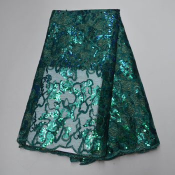 African Sequins Lace Fabric High Quality Embroidery French Tulle Lace 2020 Nigerian French Tulle Organza Lace Green Women Dress
