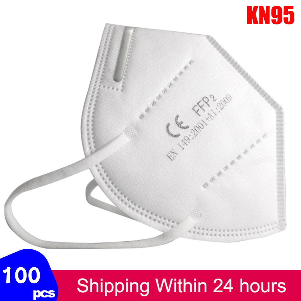 100pcs Fast Shiping KN95 Mask FFP2 Face Masks Safety 95% Filtration For Dust Particulate Pollution Protective Mouth Mask