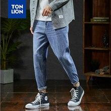 TONLION весной новый мужские джинсы бренд полная длина шаровары мужчины джинсы мода случайные светло-голубой карандаш для подростков студентов