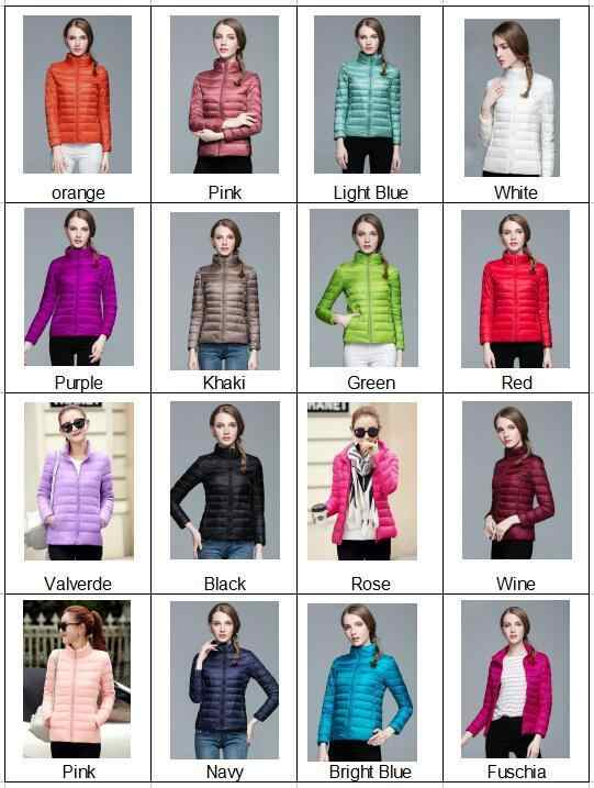 冬の女性のスタンド 90% 白アヒルダイビングジャケットスリムマンガ色キャンディーファッション
