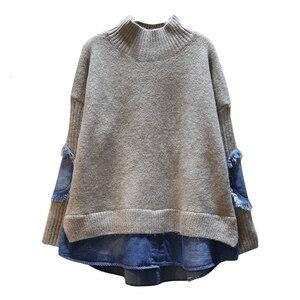 Image 5 - EWQ 2020 אביב סתיו באיכות גבוהה גולף צווארון ארוך שרוול מזויף שתי חתיכה ינס Knittng Streetwear סוודר נשים AH502