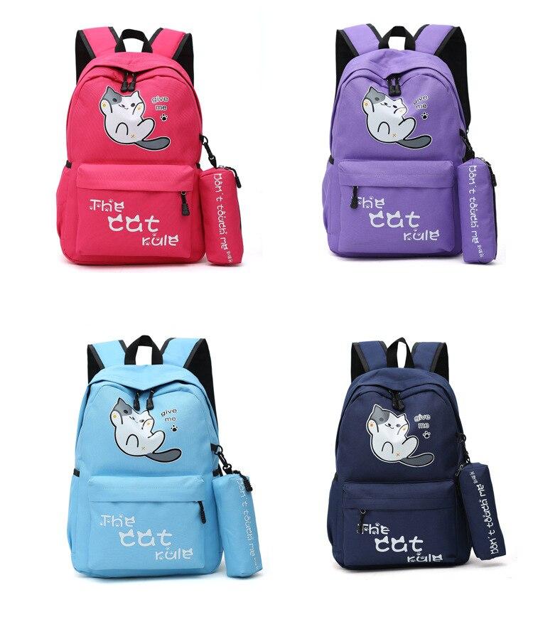 estilo bonito gato menino mochila mochila de