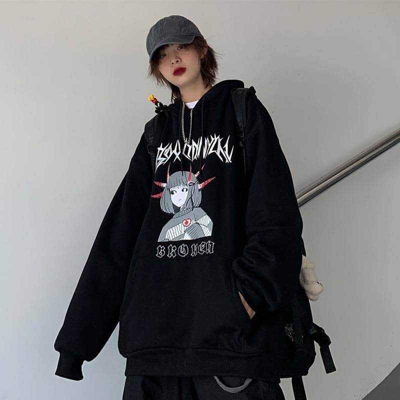 NiceMix Harajuku Oversized Hoodie Sweatshirt Women Autumn Cartoon Print Hoodies Long Sleeve Pullover Loose Cute Hoodie Funny