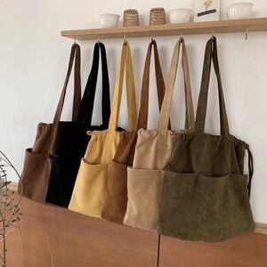 Image 5 - 2020 kış yeni kore süet ipli büyük el çantası Casual kadın çanta orta bayanlar omuzdan askili çanta genç alışveriş çantası toptan