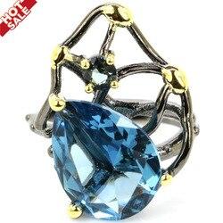 23x17 мм в неоготическом стиле Винтаж создан дымчатый топаз лондон, кольцо с голубым топазом для черного и золотого цвета в стиле хип-хоп ювели...