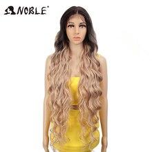 Asil sentetik dantel ön peruk ombre sarışın peruk 42 inç pembe amerikan uzun derin dalga peruk cosplay sentetik peruk siyah kadın