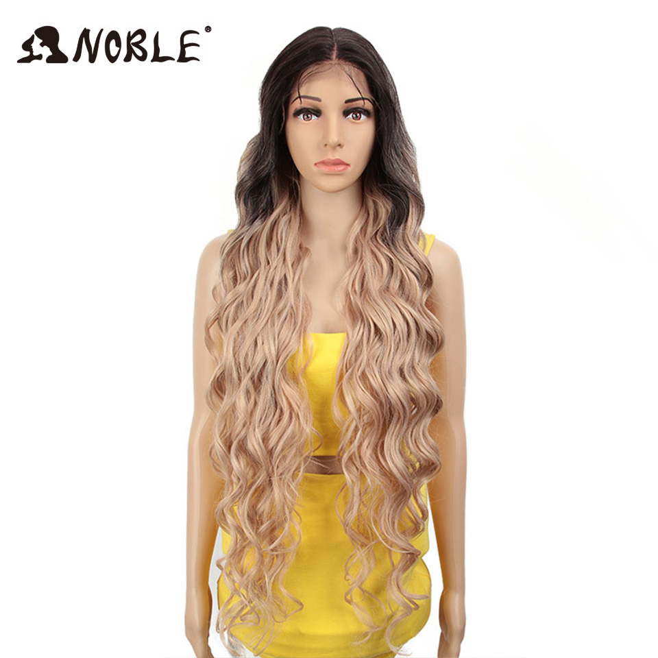 Noble Synthetic Lace Front Wig Ombre Blonde Wig 42 Inch Pink American Long Deep Wave Wig Cosply Synthetic Wigs For Black Women