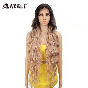 Image 1 - Perucas sintéticas de cosply da onda profunda longa americana cor de rosa da peruca da parte dianteira do laço sintético nobre ombre peruca loira 42 polegada
