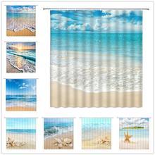 Ocean Beach Shower Curtains Sea Wave Blue Sky Hawaii Scenery Shell Starfish Home Decor Bath Bathtub Waterproof Cloth Curtain Set