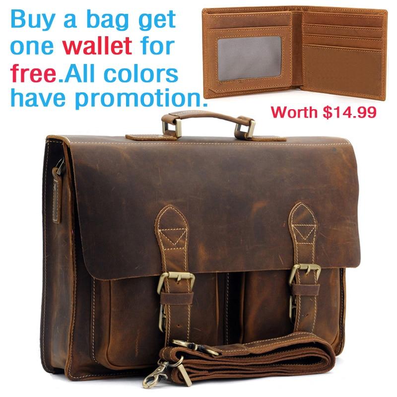Father's Day Gift Men's Vintage Real Crazy Horse Leather Briefcase Messenger Shoulder Portfolio Laptop Bag Case Handbag 1061