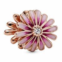 Новый бусины из стерлингового серебра 925 Шарм розовое золото розовый цветок маргаритки с хрустальными бусинами Подходит Pandora браслет DIY юве...
