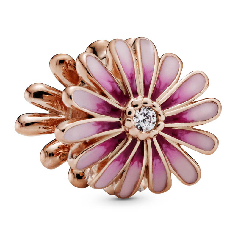 Novo 925 prata esterlina grânulo charme rosa ouro rosa flor margarida com contas de cristal caber pandora pulseira diy jóias