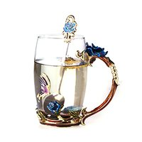 Colorful Roses Enamel Water Glass High grade Crystal Glass Round Birthday Gift Couple Coffee Cup Gift Box Blue Rose Spoon
