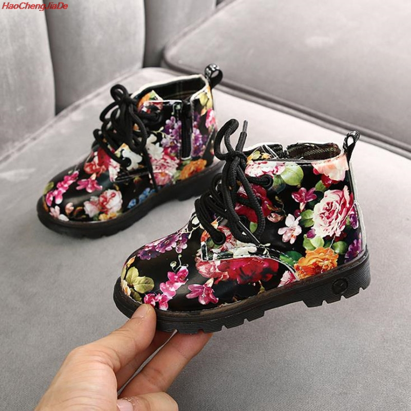 Kids Boots For Girls Boys Elegant Floral Flower Print Boots Children Boots Shoes Baby Toddler Martin Boots Kids Sneakers