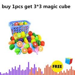 Surwish 23 pçs/set plástico frutas legumes corte brinquedo desenvolvimento precoce e educação brinquedo para bebê-cor aleatória