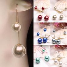 Fashion Women U-Shaped Ear hook Double Sided Pendant Mujer Faux Pearl Ball Drop Dangle Earrings for Women accesories Jewelry pair of delicate faux crystal ball hook earrings for women