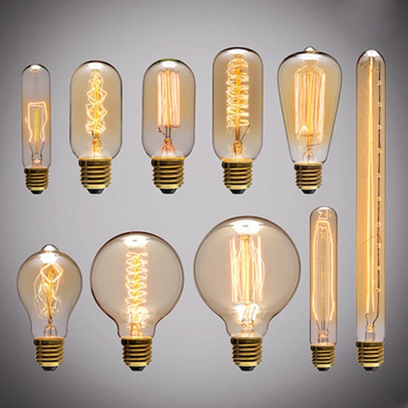 Bombillas Vintage Edison E27 ST64 G80, Bombilla de filamento, jaula de ardilla, de carbono, luz de Edison Retro Para lámpara colgante
