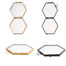 High Quality Hanging Metal Glass Vintage Hexagon Photo Picture Frame Keepsake Gift for Home Decoration 8.8x8.5cm - Gold/ Black