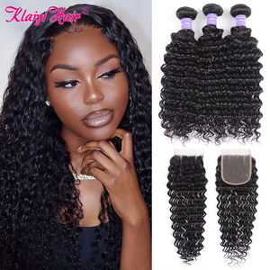 Image 1 - Klaiyi Hair Brazilian Deep Wave Bundles With Closure Free Part Human Hair Bundles With Closure Dark Black 4pcs Remy Hair Weaves