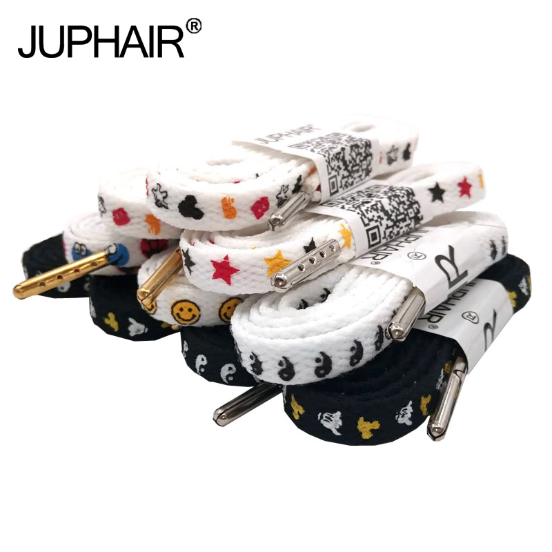 Black White Tai Chi Cartoon Flat Cotton Shoelaces With Silver Metal Tips Printing Laces Personality Sneaker Sport Shoe Laces