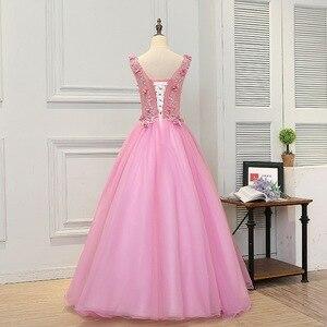 Image 2 - 2019 sıcak satış pembe Quinceanera elbiseler el yapımı çiçekler prenses kabarık balo elbisesi Vestido Quinceanera Vestido Debutante 15 Anos