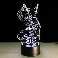 3d ilusão lâmpada super herói deadpool novidade noite luz ao lado da lâmpada com 7 mudança de cor  toque inteligente & abs base  presente legal do miúdo|Luzes noturnas| |  -