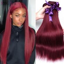 色のペルーストレートヘアの束ブルゴーニュ 99J赤人毛織りバンドルシャイニングスター 1 pcレミーヘアエクステンションcanbe染料