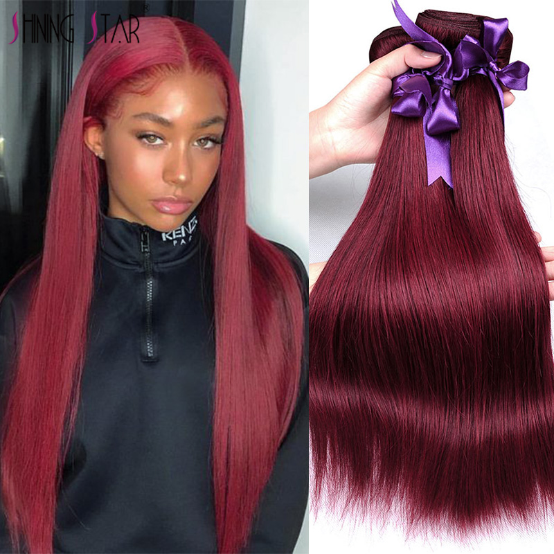 Colored Peruvian Straight Hair Bundles Burgundy 99J Red Human Hair Weave Bundles Shining Star 1 Pc Non-Remy Extensions Canbe Dye