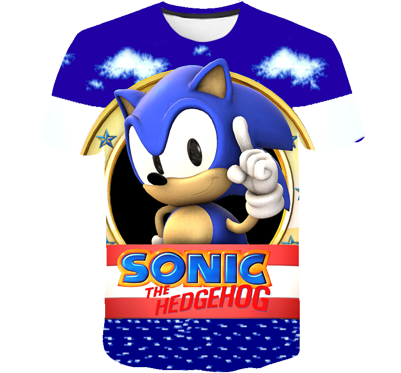 Boys Mario Super Sonic Print Clothes Girls 3D Funny T-shirts Costume Children Summer Clothing Kids Tees Baby Streetwear T Shirts