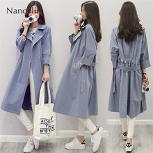 Blue Trench Coat for Women Spring Autumn New Womens Long Ladys Windbreaker Business Lady Temperament Ropa Mujer