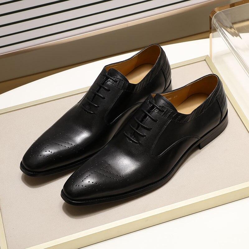 Genuine leather dress shoes for men, handmade, for office, wedding, men's Oxfords. 4
