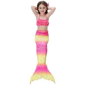 Image 3 - Novedad en bañador para niños niñas sirena con cola de sirena, traje de baño Bikini para niñas con aleta, bañador Monofin