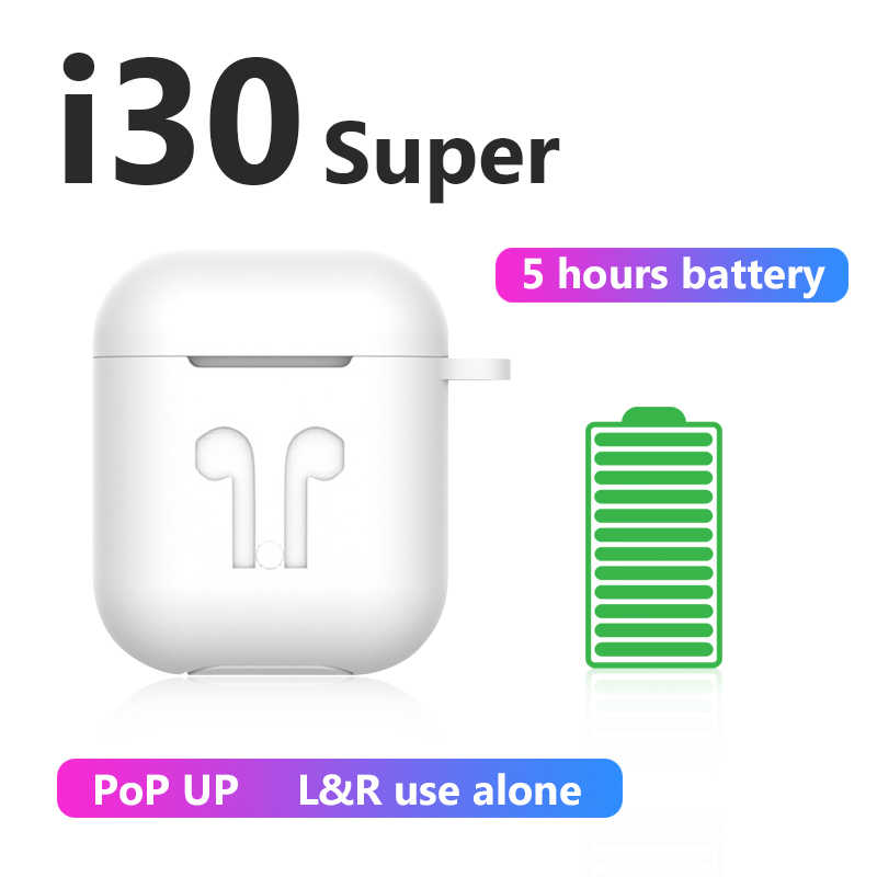i30super Super Power 5h Wireless Earphone 6D Super Bass Bluetooth 5.0 Earphones i30 tws not W1 Chip twsi30