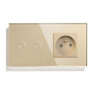 Image 2 - Franse Stopcontact Lichtschakelaar 1/2/3 Gang Met 1 Manier Elektrische Stopcontacten Crystal Glass Touch Panel 16A frankrijk Rechthoekige