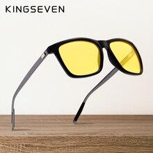 KINGSEVEN الاستقطاب الرجال النساء للرؤية الليلية النظارات الشمسية عدسات صفراء اللون خمر مربع الذكور الإناث نظارات شمسية عالية الجودة