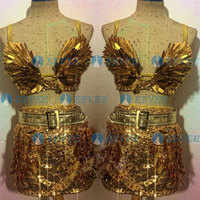 Jazz Dance Costumes Golden Sequin Dj Ds Gogo dance bra skrit Singer Nightclub bar Stage Performance Rave Outfits for Women